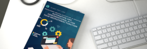 The Power of Automation and Conversational AI for Your Recruitment Function trends report mockup on desk